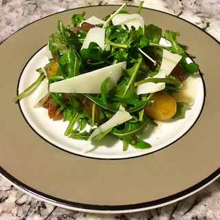 Arugula & Shaved Parmesan Salad with Blistered Cherry Tomatoes