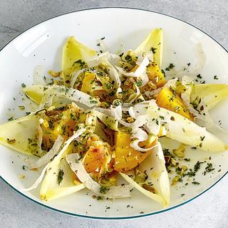 Golden Beet & Endive Salad with Orange-Marinated Fennel, Pistachios, Thyme & Tarragon