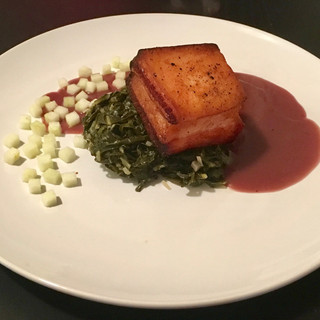 Seared Pork Belly with Apple Cider Vinegar Braised Collared Greens & Red Wine Reduction