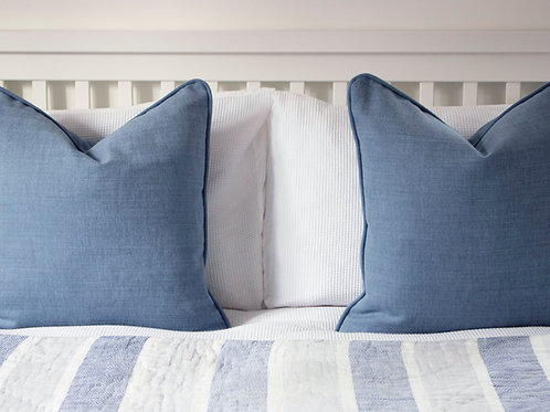 Farndon Piped Feather Cushion - Airforce Blue
