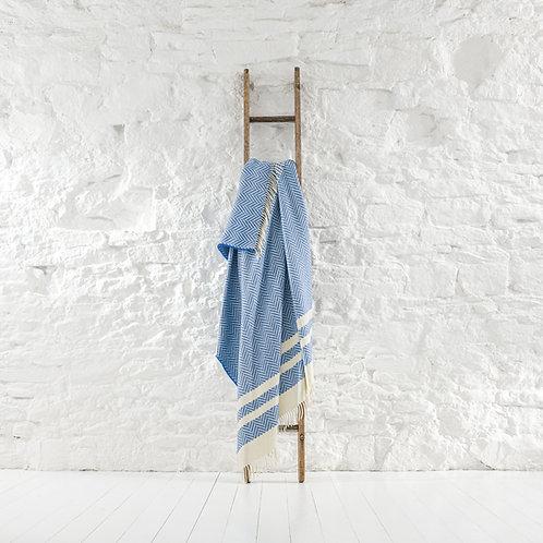Hatton Stripe Throw - Royal Blue