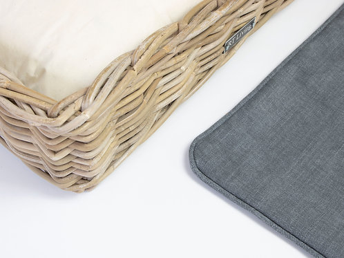 Willington Rectangle Wicker Dog Bed & Cushion