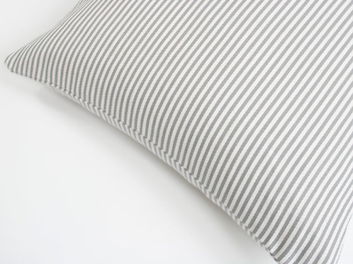 Cotswold Stripe Feather Cushion - Grey White