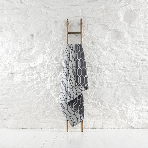 Norbury Geometric Cotton Throw -Grey