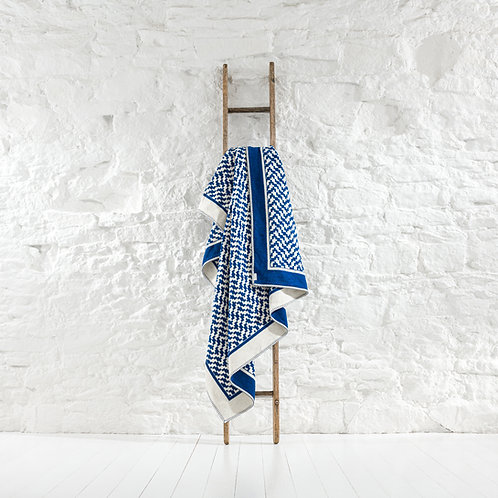Brington Cotton Throw - Royal Blue