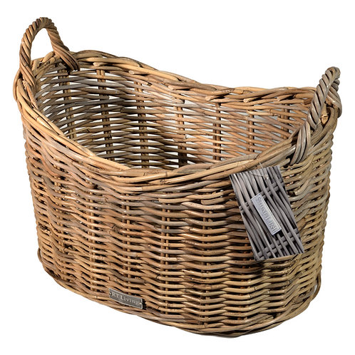 Loxley Scoop Top Grey Wicker Storage Basket