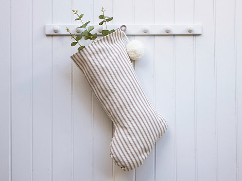 Kingham Stripe Christmas Stocking - Natural