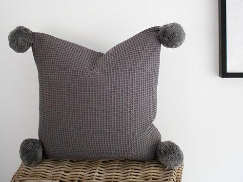 Foxley Waffle Feather Cushion - Dark Grey