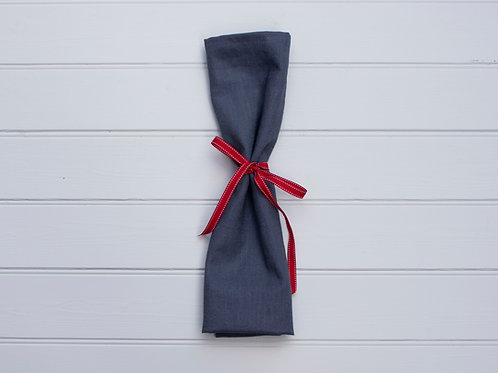 Plain Linen Napkins - Navy Blue (Set of 4)
