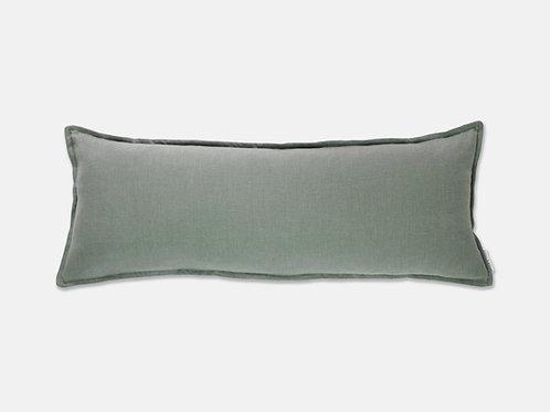 Oxford Linen Lumbar Feather Cushion - Sage Grey