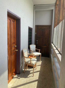 Entrance veranda with the connecting door