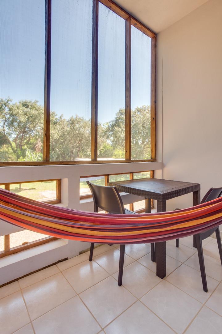 Private veranda in adjusted bedroom