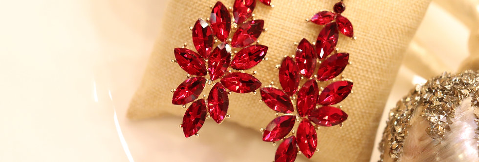 Red Rhinestone Chandelier Earrings