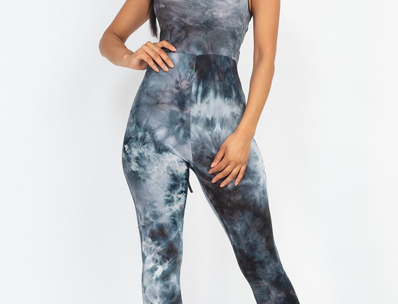 Criss-cross open back bodycon jumpsuit - Stretch knit - Spagh