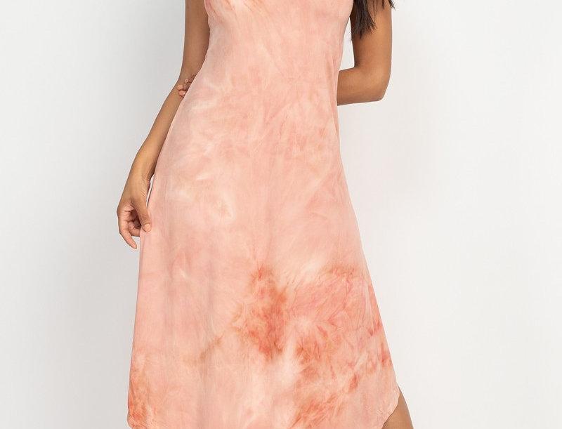 Tie-dye Round Hem Dress - V neck and back line - Strappy -