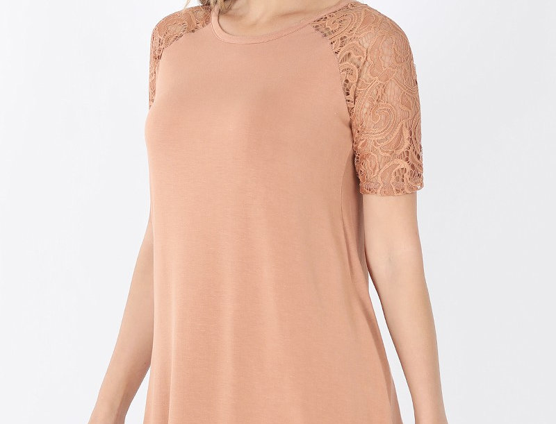 LUXE RAYON LACE SHORT SLEEVE ROUND NECK & ROUN