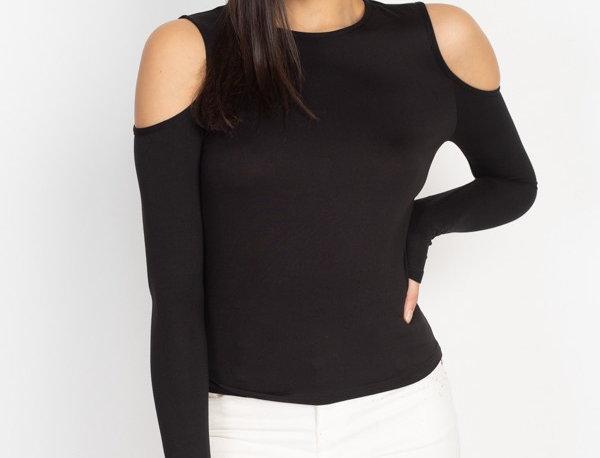 Open Shoulder Top - A stretch knit open shoulder top