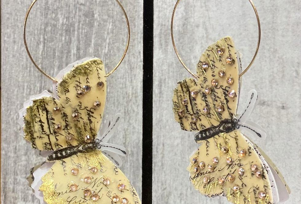 3-D butterfly earrings  Chic Long Earrings with Swarovski Crystal Butterflies, B