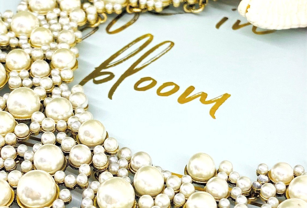 White & Gold Womens Pearl  Statement Necklaces