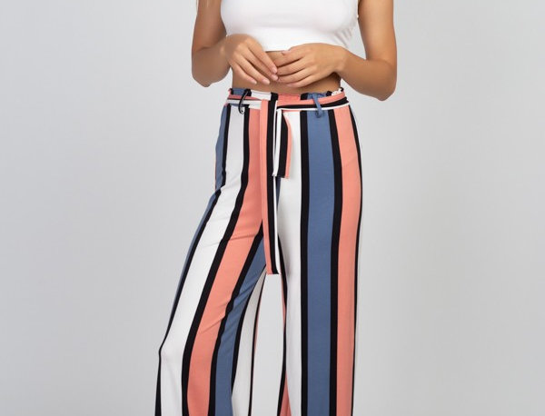 Vertical Stripe Belted Palazzo Pants