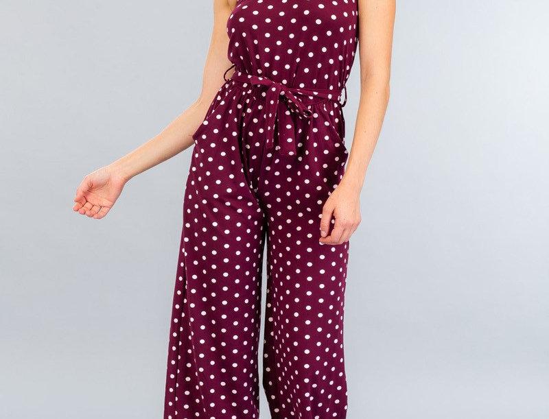 strapless jumpsuit polka dot