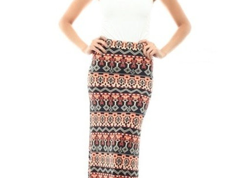 Printed Long Skirt Maxi Skirt Ladies Print Full Length Elastic