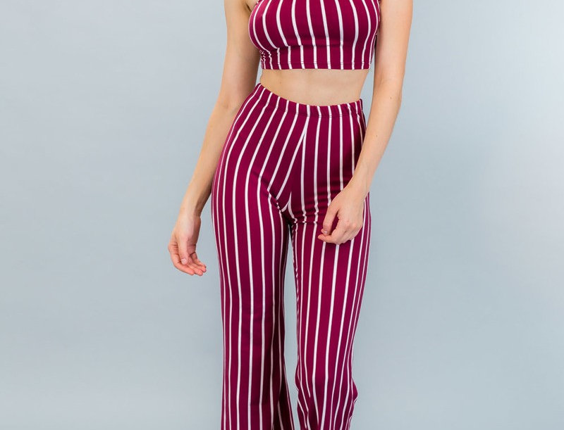 Stripe Cropped Tube Top & Pants Set