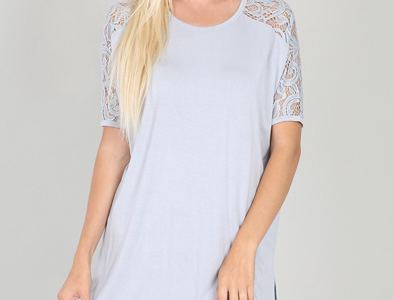 LUXE RAYON LACE SHORT SLEEVE ROUND NECK WITH S