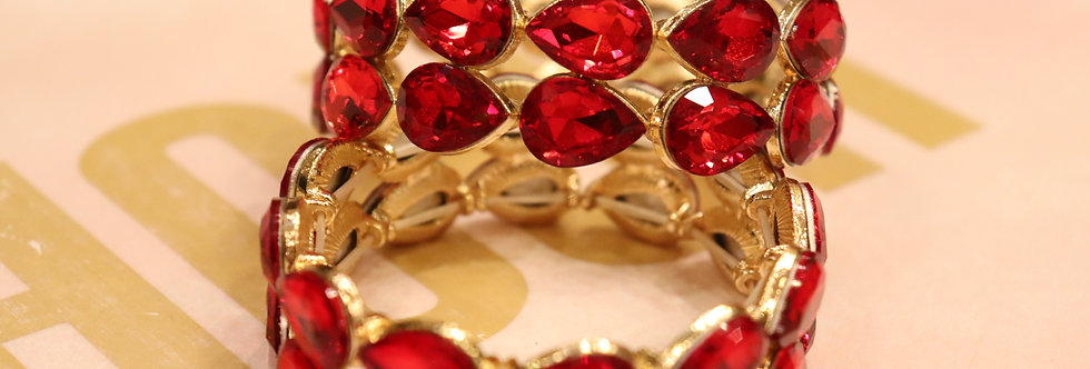 RED BRACELET RED RHINESTONE BRACELET RED CRYSTAL