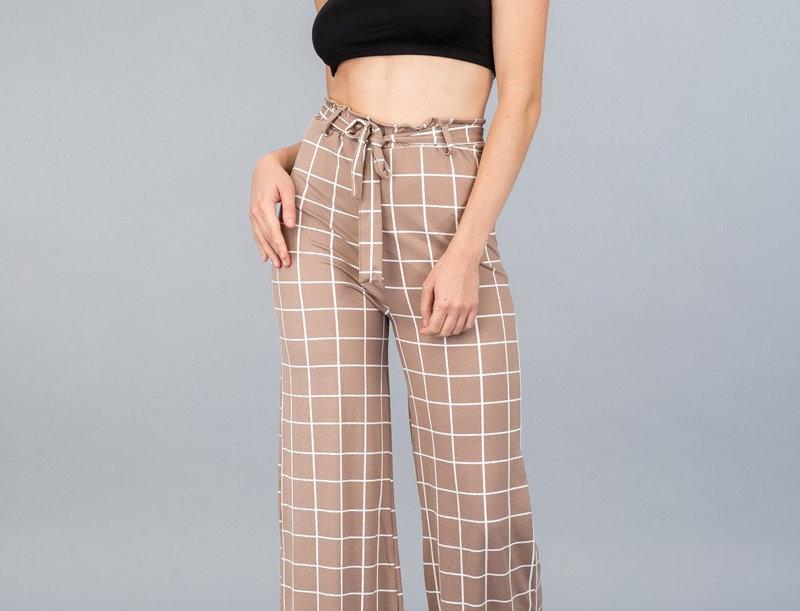 Grid Wide-Leg Pants - A stretch knit belted wide-leg pants feat