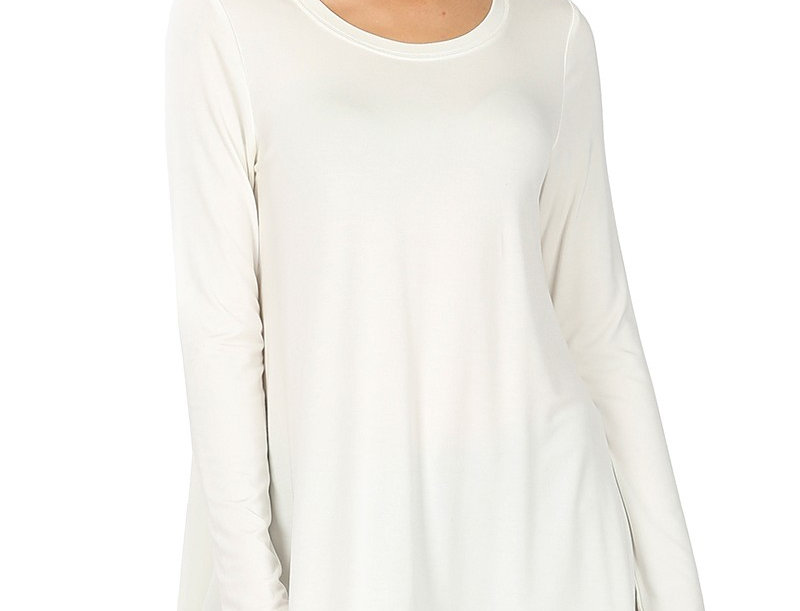 LUXE RAYON LONG SLEEVE ROUND NECK LACE TRIM HI-L