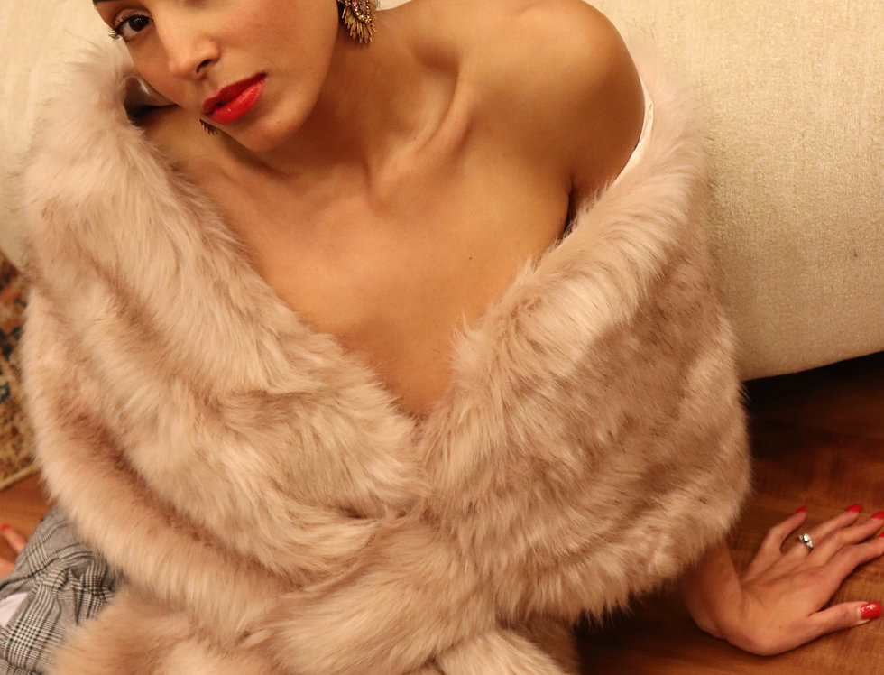 Blush / Beige / Light Brown Faux Fur Wrap Faux Fur Stole Nude Bridal Fur Shawl C