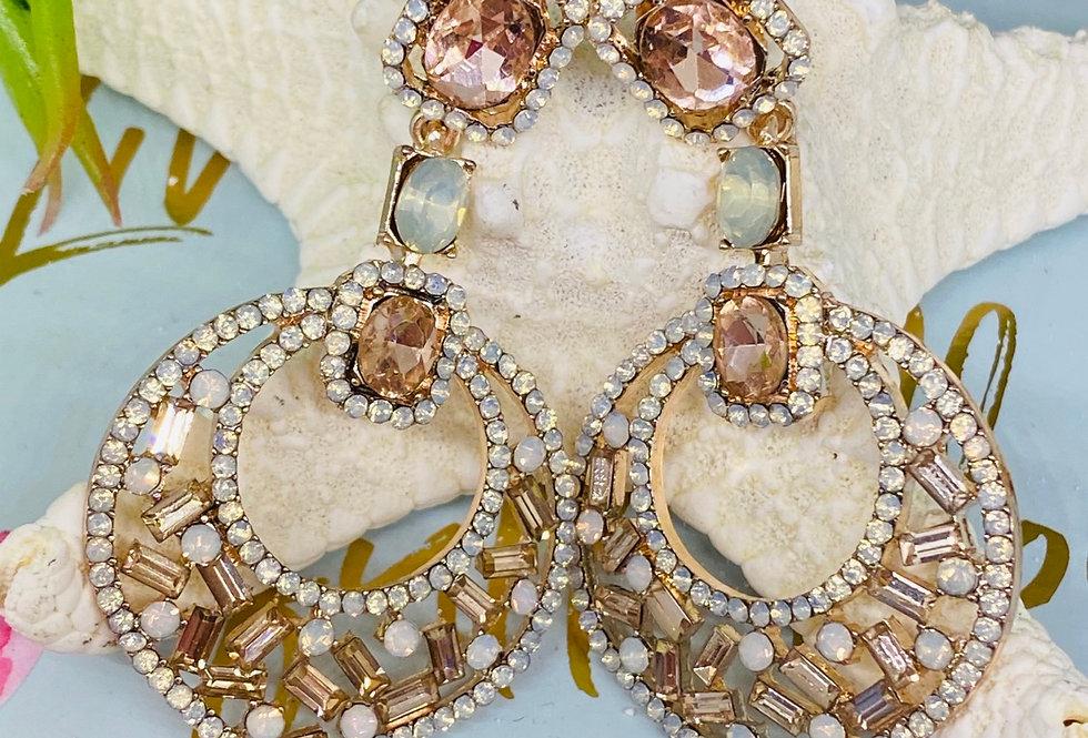 CHANDELIER EARRING Vintage Style Rose Gold Earrings | Swarovski Crystal Wedding