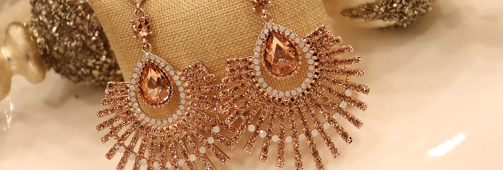 Rose gold earrings,chandelier