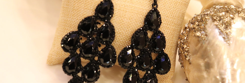 Black Drop Earrings - Black Chandelier Earrings - Black Rhinestone