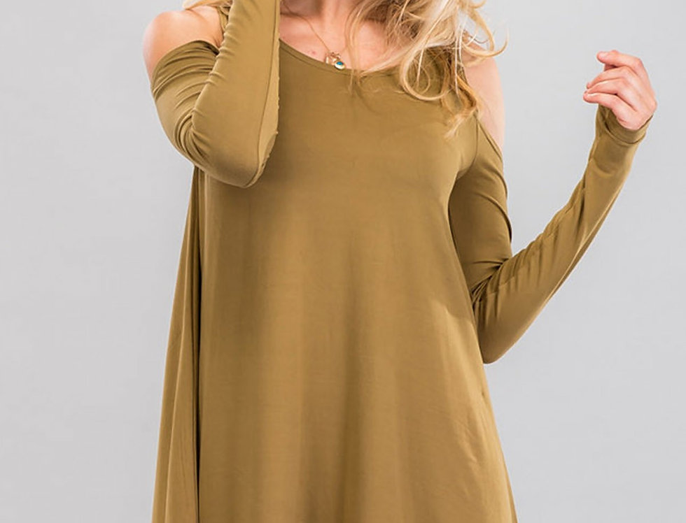 Open shoulder swing top/dress  cut out shoulder top, oversized open shoulder