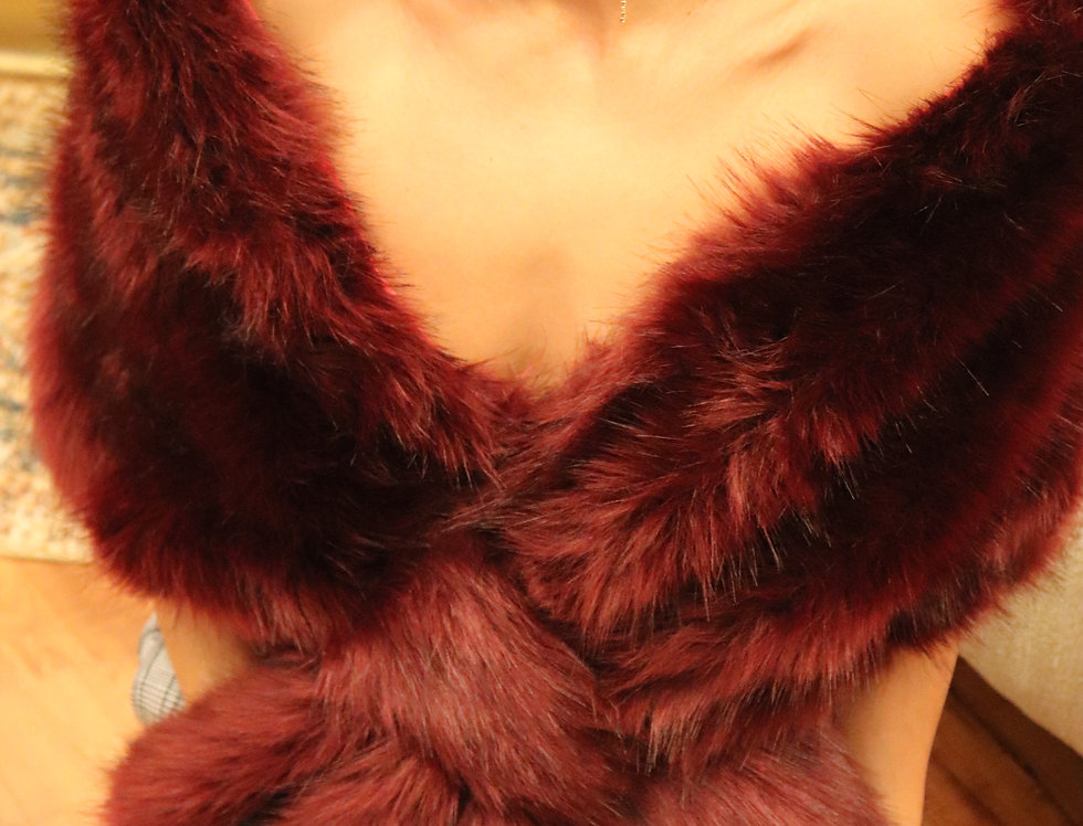Blush / Beige / Light Brown Faux Fur Wrap Faux Fur Stole Nude Bridal Fur Shawl