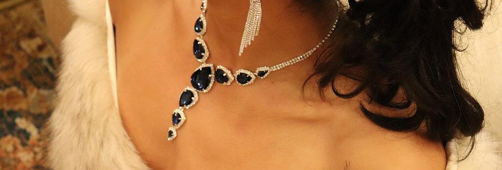 Sapphire blue necklace, blue wedding jewelry, navy blue necklace, navy blue jewe