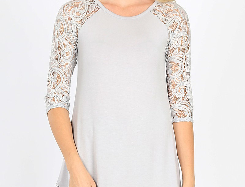 LUXE RAYON LACE HALF SLEEVE ROUND NECK & ROUND