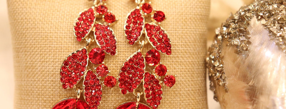 Red Earrings Crystal,Dangle,Statemen.Red Rhinestone Chandelier Earrings