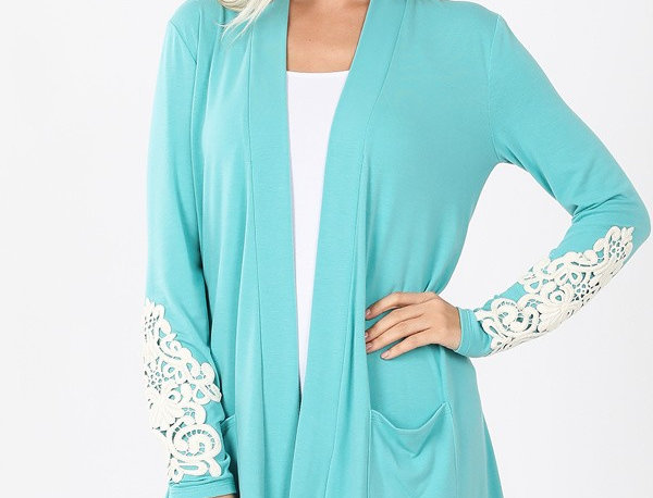 LACE PATCH SLOUCHY POCKET OPEN CARDIGAN TOTAL