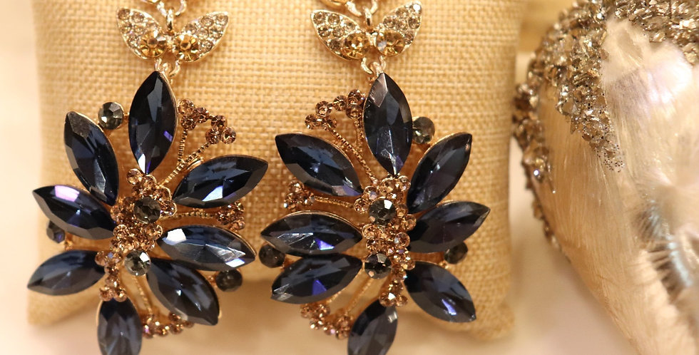 Navy Blue  Earrings, Crystal Chandelier Earrings,  Drop Earrings.