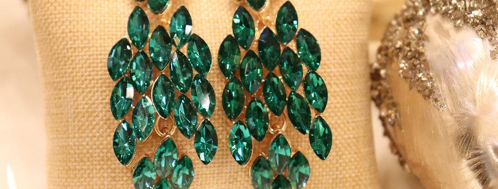 Emerald Green Earrings Swarovski Crystal Green Rhinestone Earrings Tear Drop