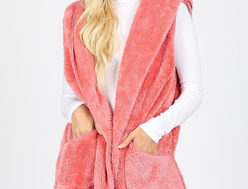 HOODED FAUX FUR COCOON VEST WITH SIDE POCKETS -