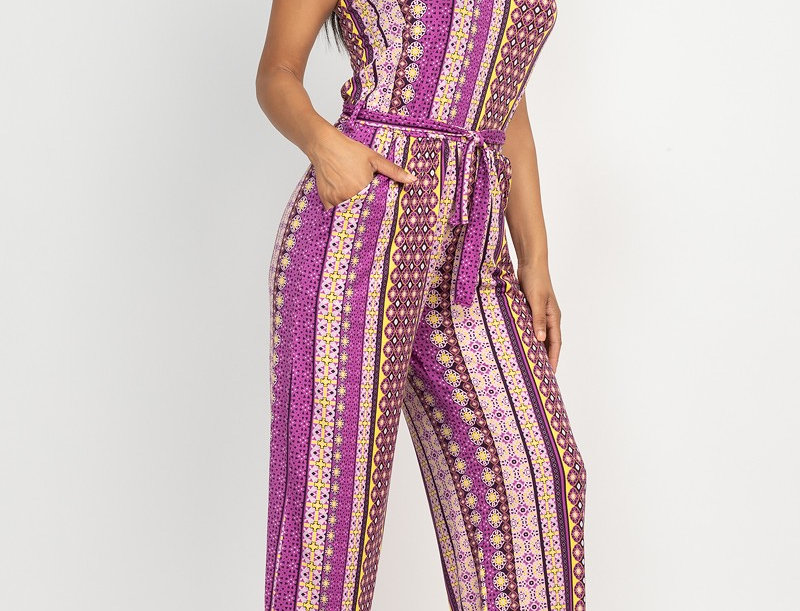 Printed Belted Tube Jumpsuit