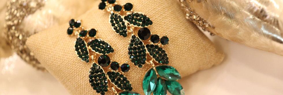 Emerald Green Earrings Swarovski Crystal Green Rhinestone Earrings Tear Drop Pos