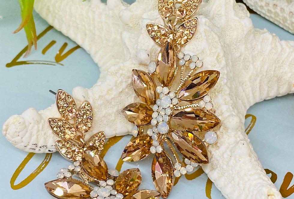 CHANDELIER EARRING Vintage Style Rose Gold Earrings   Swarovski Crystal Wedding