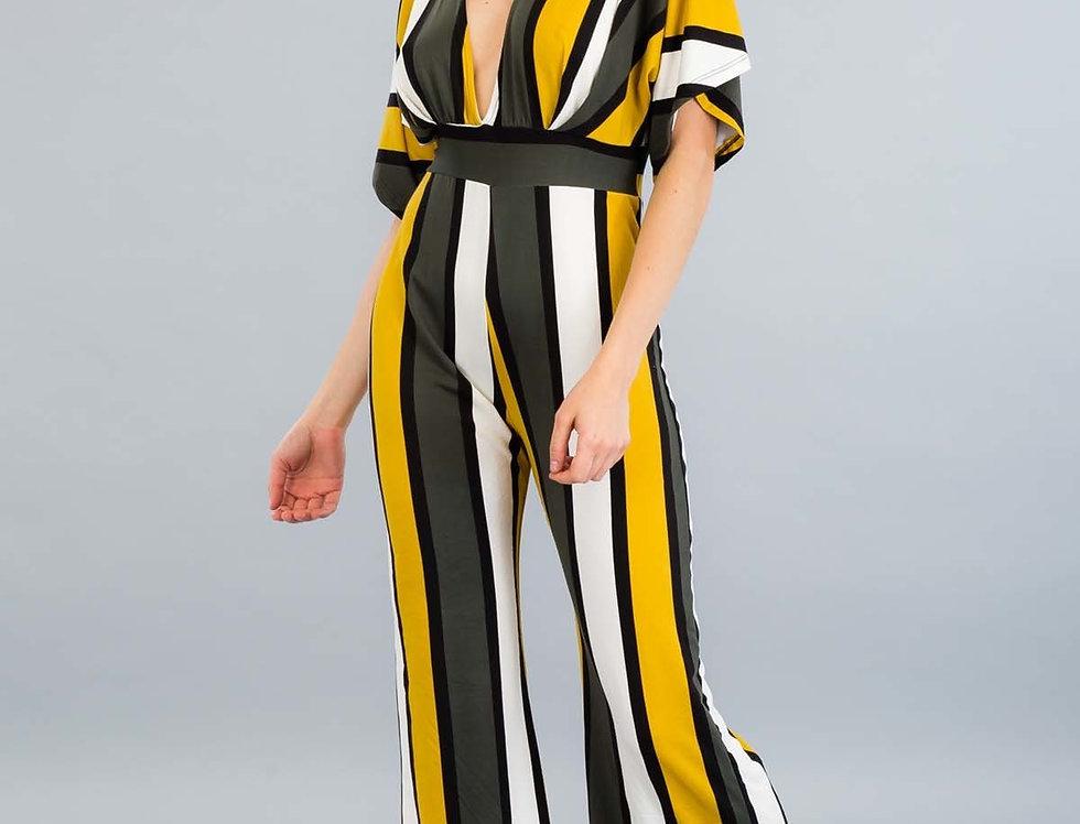 Vertical Stripe Flounce Sleeve Leg Jompsuit