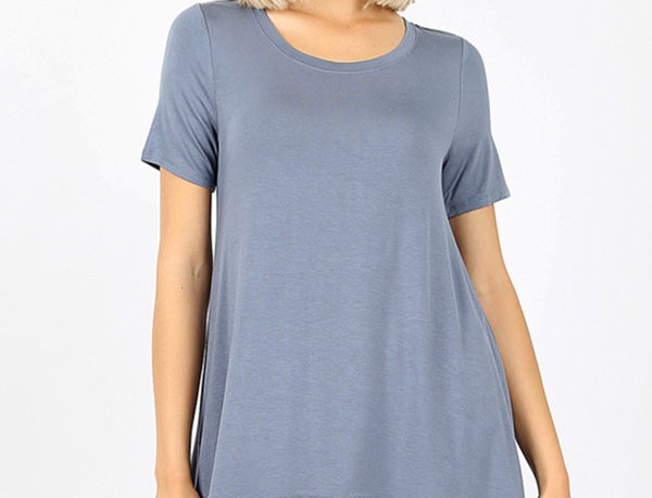 LUXE RAYON SHORT SLEEVE ROUND NECK LACE TRIM HI