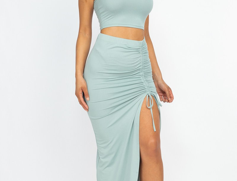 sleeveless crop top&side slit with string skirt